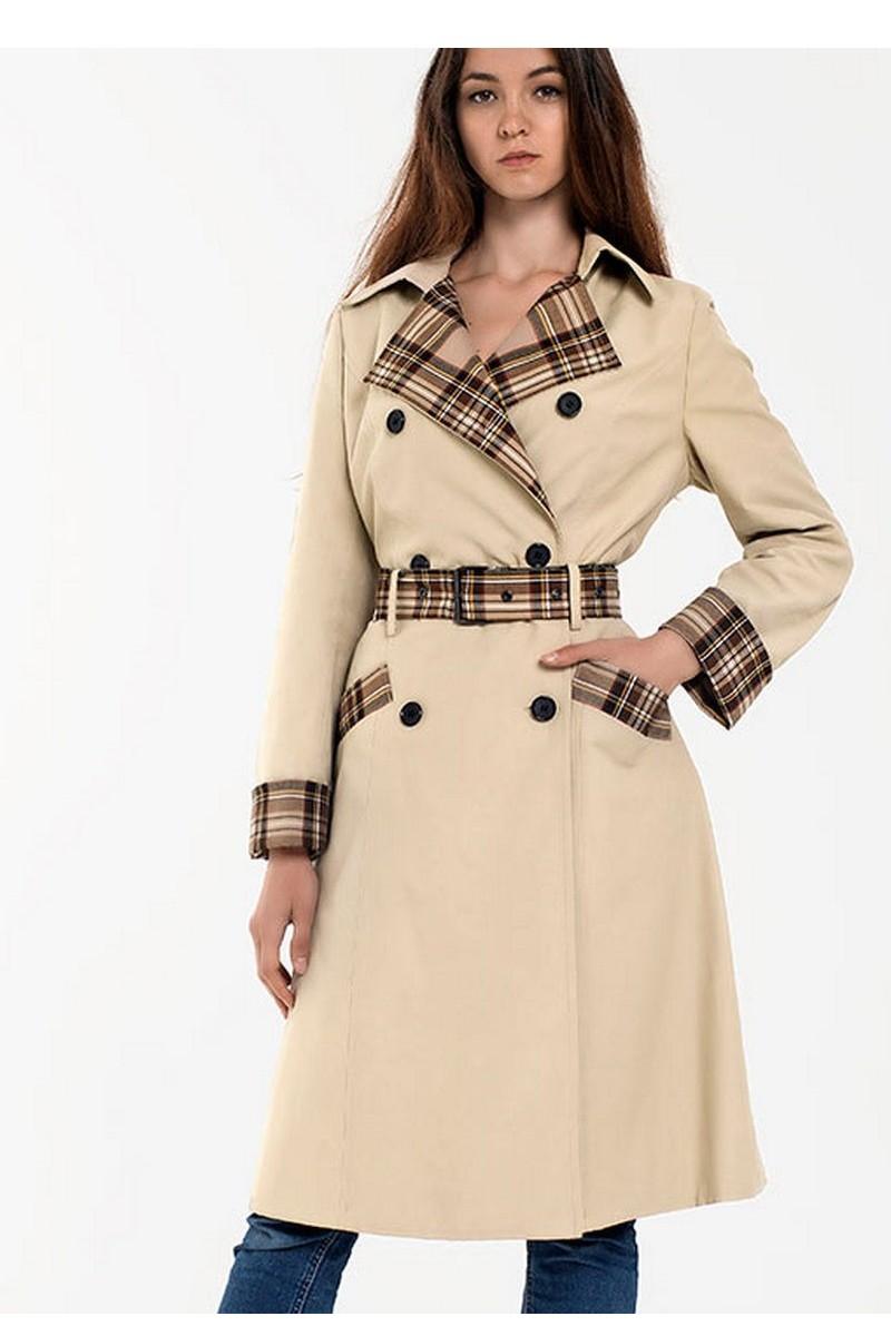 Buy Beige classic women's wool cotton comfortable buttons belt trench coat