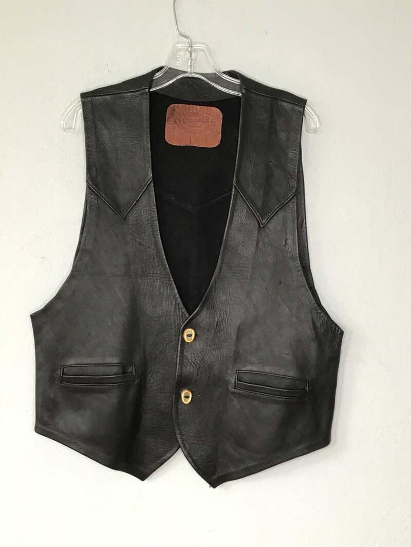 Buy Black men's vest, made from real leather, cowboy vest, western style, short vest, vintage style, old vest, retro style, has size - large.