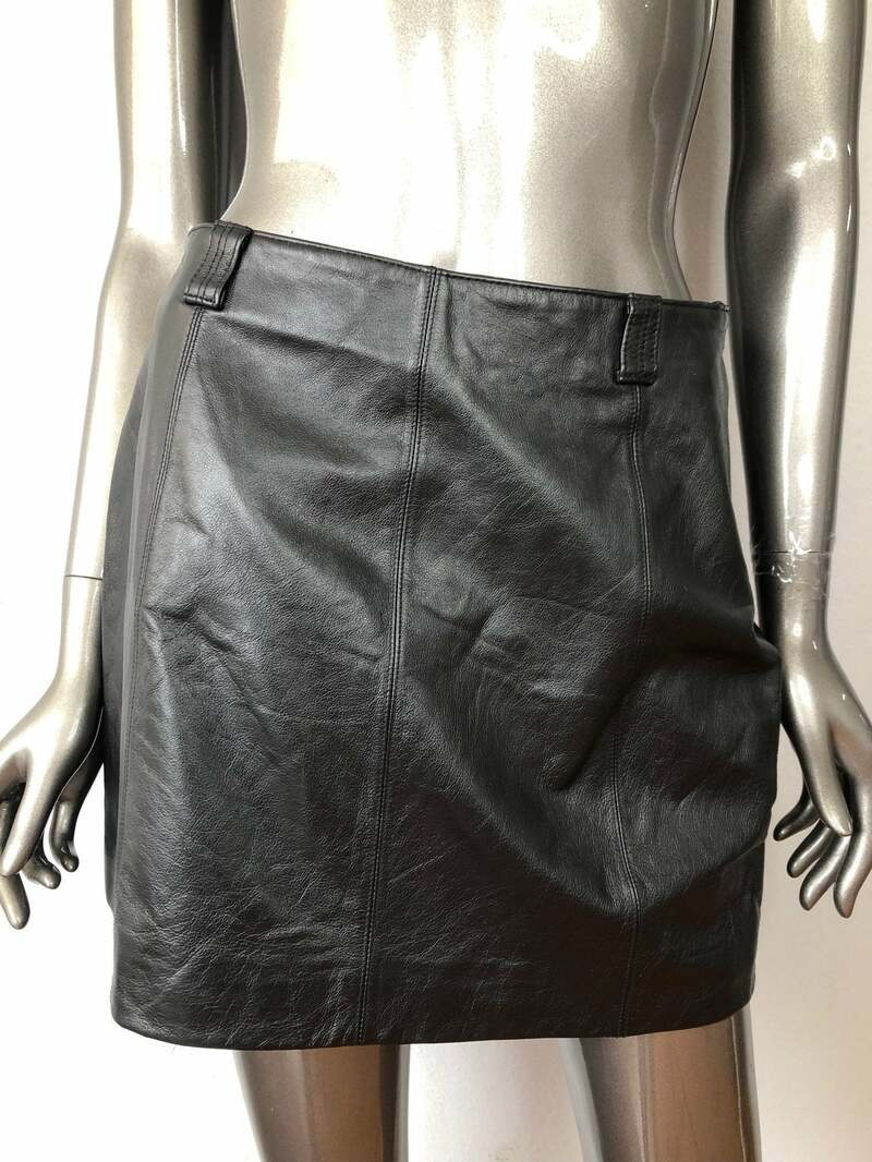 Buy Black Women's skirt real leather soft genuine leather streetstyle skirt short skirt vintage skirt casual skirt modern skirt has size-medium.