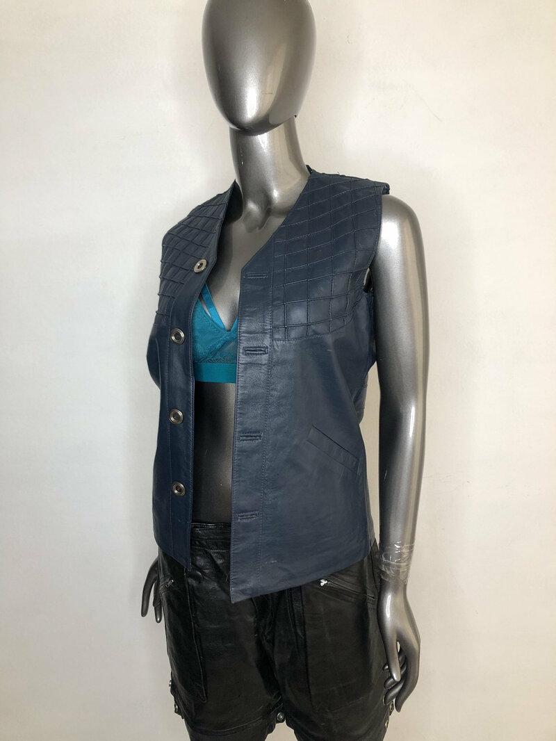 Buy Blue women's vest from real leather streetstyle vest only one vest vintage vest casual vest old vest fashionable vest has size-small.