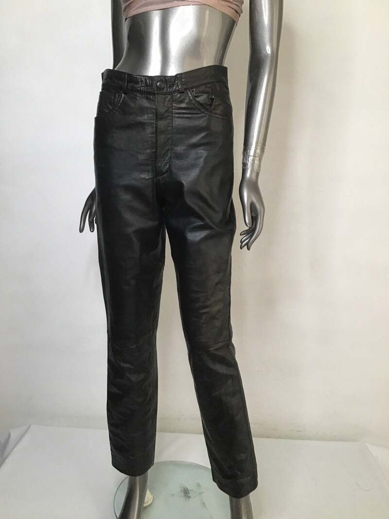 Buy Black Women's pants real leather soft leather vintage pants rocker pants streetstyle pants motorcycle pants casual pants has size-small.