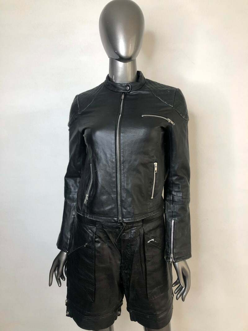 Buy Black women's jacket made from real leather casual jacket short jacket motorcycle vintage rocker style old jacket retro style size-small.