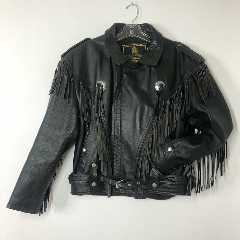 Buy Black men's jacket real leather with fashionable fringe western jacket cowboy jacket vintage old jacket heavy jacket has size small.