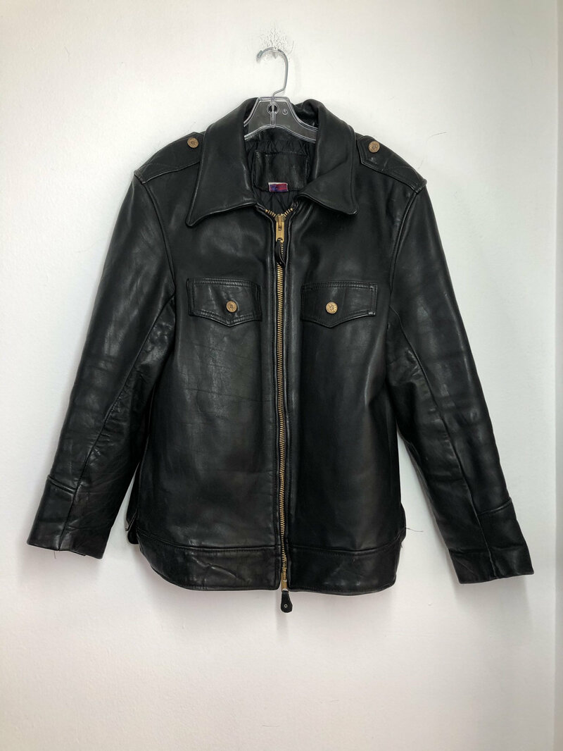 Buy Black Men's Jacket from real leather motorcycle jacket midi jacket streetstyle jacket vintage jacket rocker style steep jacket size-large.