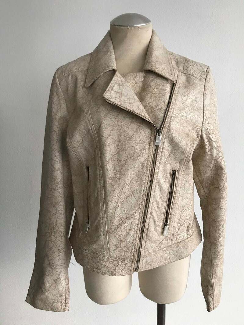 Buy White women's jacket from real leather streetstyle jacket rocker jacket vintage jacket old jacket casual fashionable jacket has size-medium.