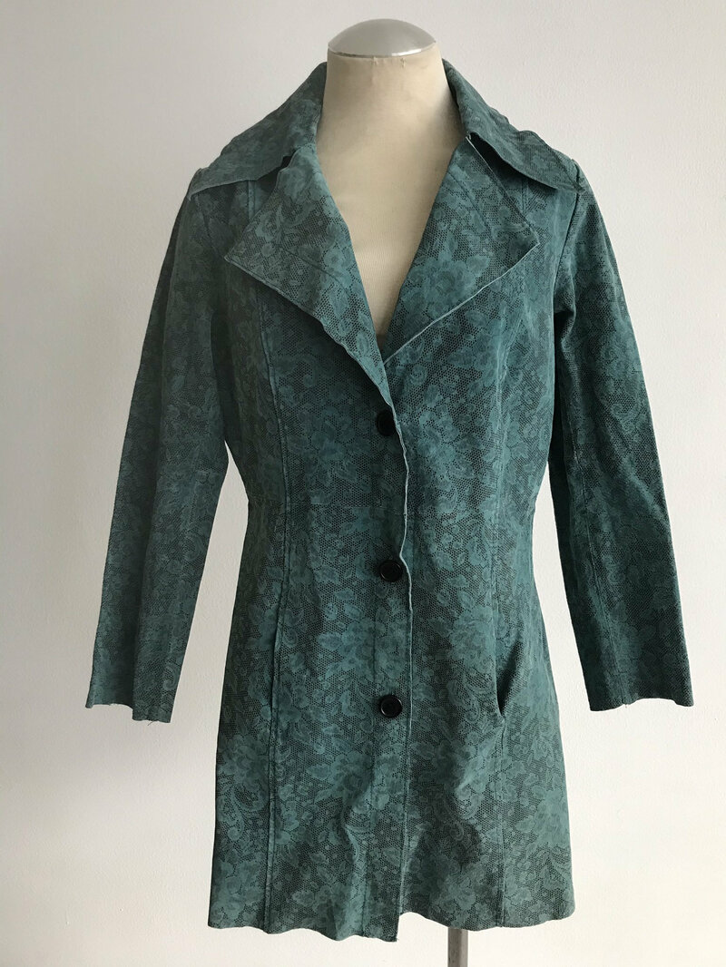 Buy Green suede coat with pockets and bottom size s conditions good used.