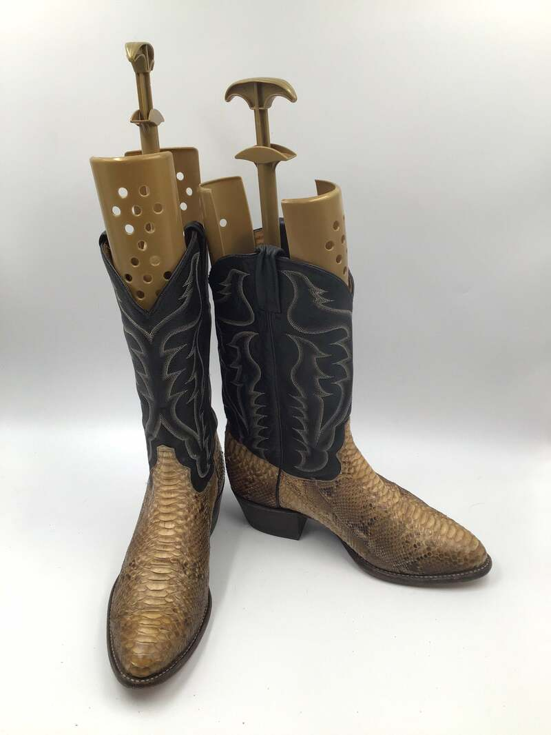 Buy Men's cowboy snake boots, leather, vintage, embroidered, with unique picture, western style, biege 11E.