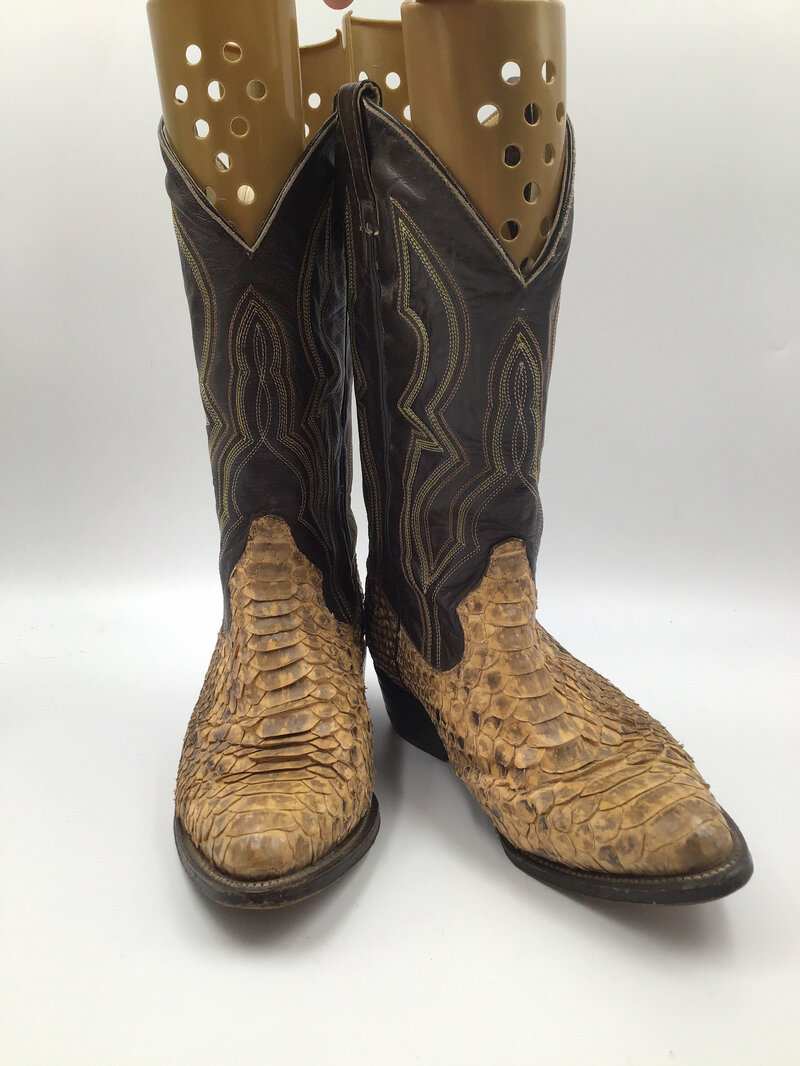 Buy Beige boots, men's boots, python leather vintage, embroidered, western style, cowboy boots, beige color, size 9D.