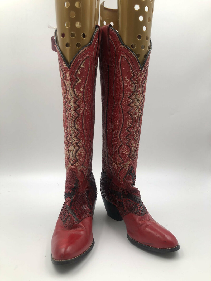 Buy Red boots women's shabby boots high length boots snake leather vintage embroidered western style cowgirl boots bright red color size 5.5.