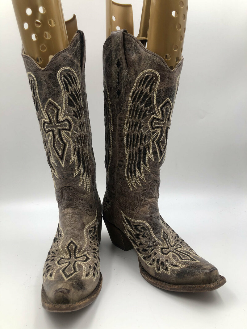 Buy Black boots, women's boots, real leather, vintage, embroidered, with unique print, western style, cowboy boots, black color, size 8M.