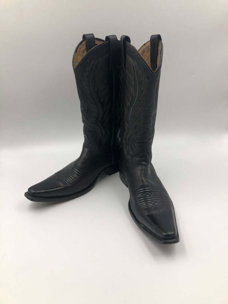 Buy Black boots, men's boots, real leather, vintage, embroidered, with unique print, western style, cowboy boots, black color, size 6 1/2.