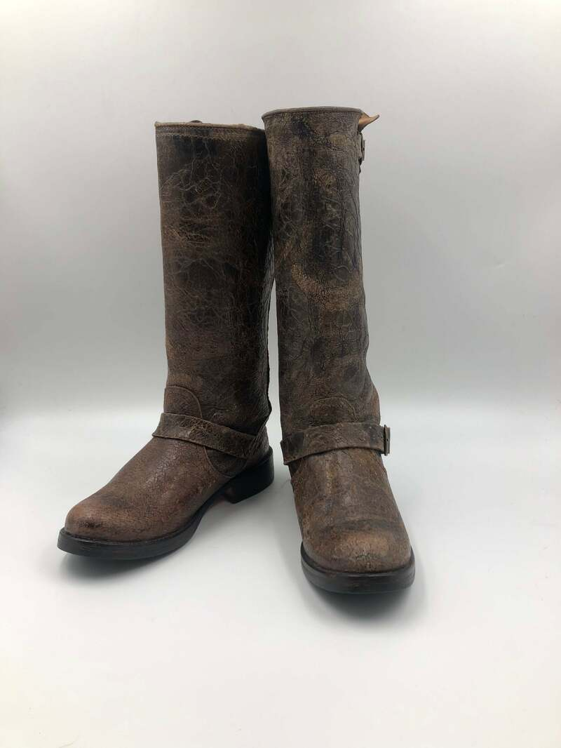 Buy Brown men's boots, real leather, vintage, decorated with leather belts on buckles, western style, cowboy boots, brown color, size 9 1/2.