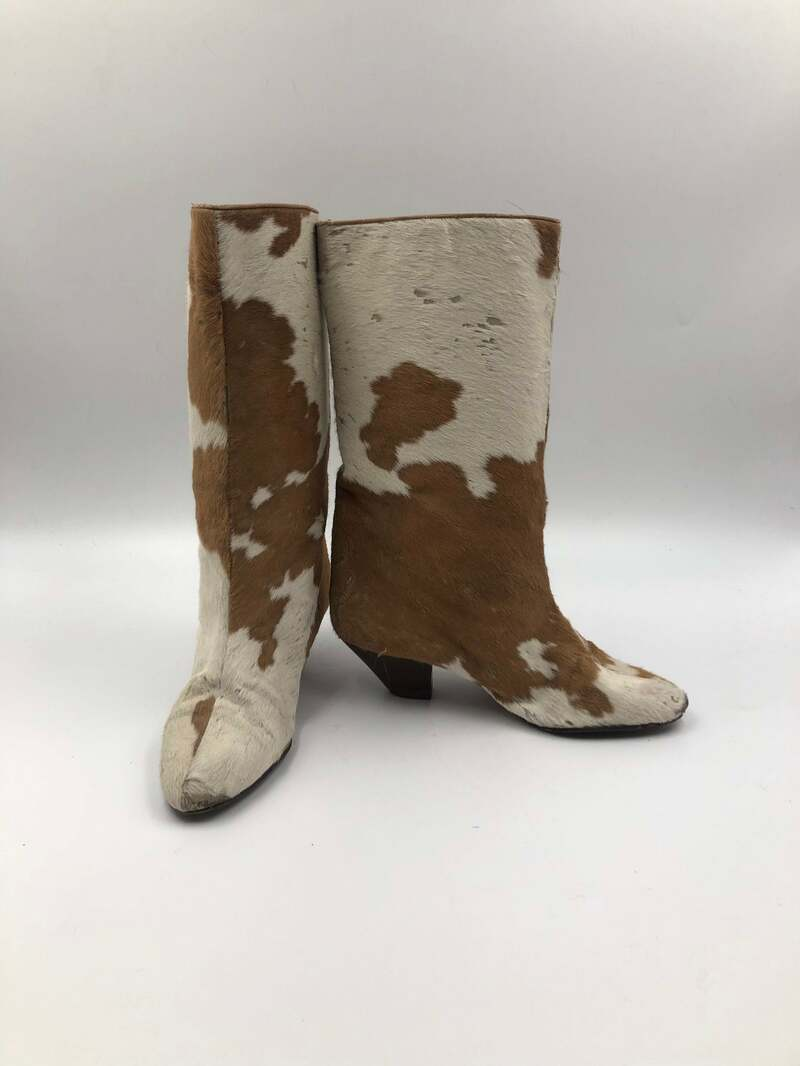 Buy Beige women's boots real fur vintage boots with long pile fur western style cowgirl boots country style retro boots fur boots size 6 1/2.