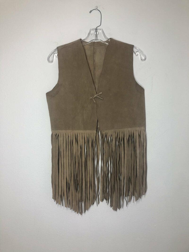 Buy Women vest real suede with long astonished fringe fashioned vest vintage style old vest streetstyle vest retro vest beige color size-small.
