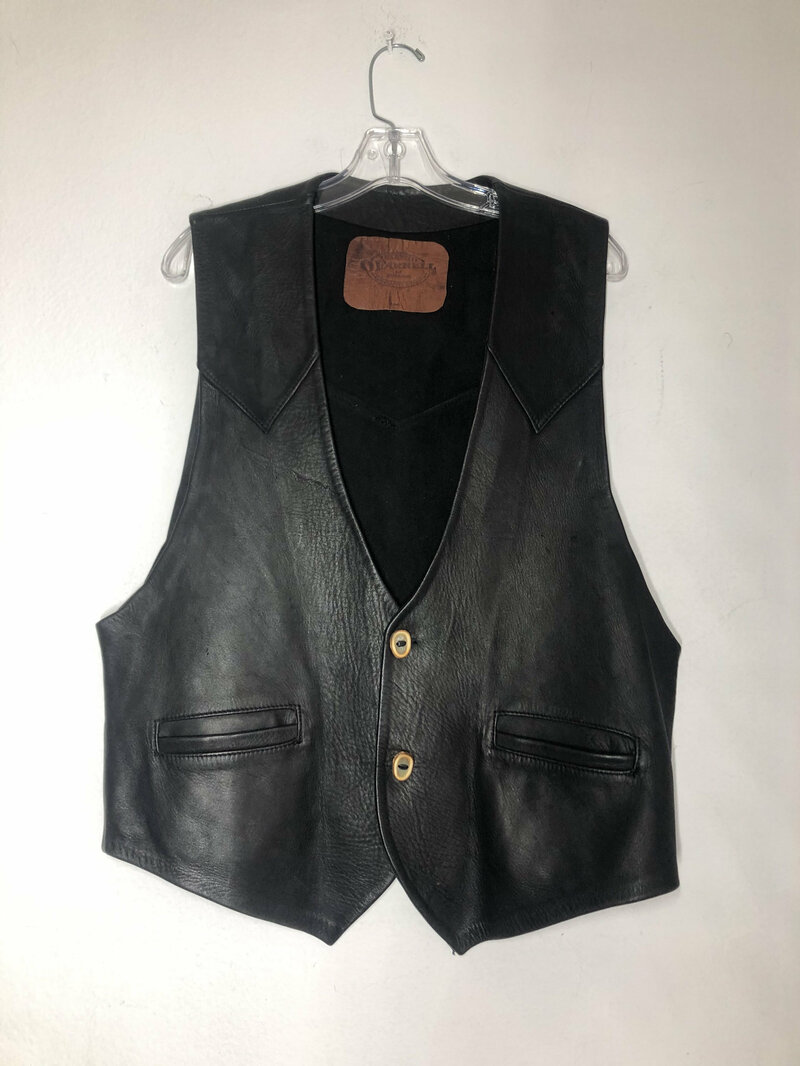 Buy Black men's vest, from real leather, cowboy vest, western style vest, short vest, vintage style, old vest, retro style, has size - large.