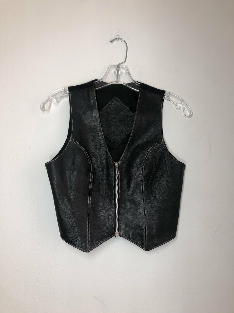 Buy Black women's vest, classical vest, from real leather and silk, streetstyle vest, short vintage vest, old vest, retro style, has size XS.