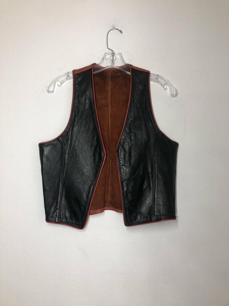 Buy Black women's vest, classical vest, real leather, streetstyle vest, short vest, hippie vest, vintage old vest, retro style, has size-small.