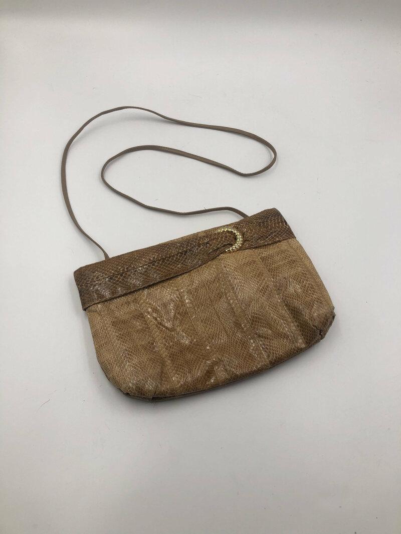 Buy Beige Leather Bag from real snake leather shoulder handbag original fashion theatre bag coctail party handbag vintage bag has size-small.