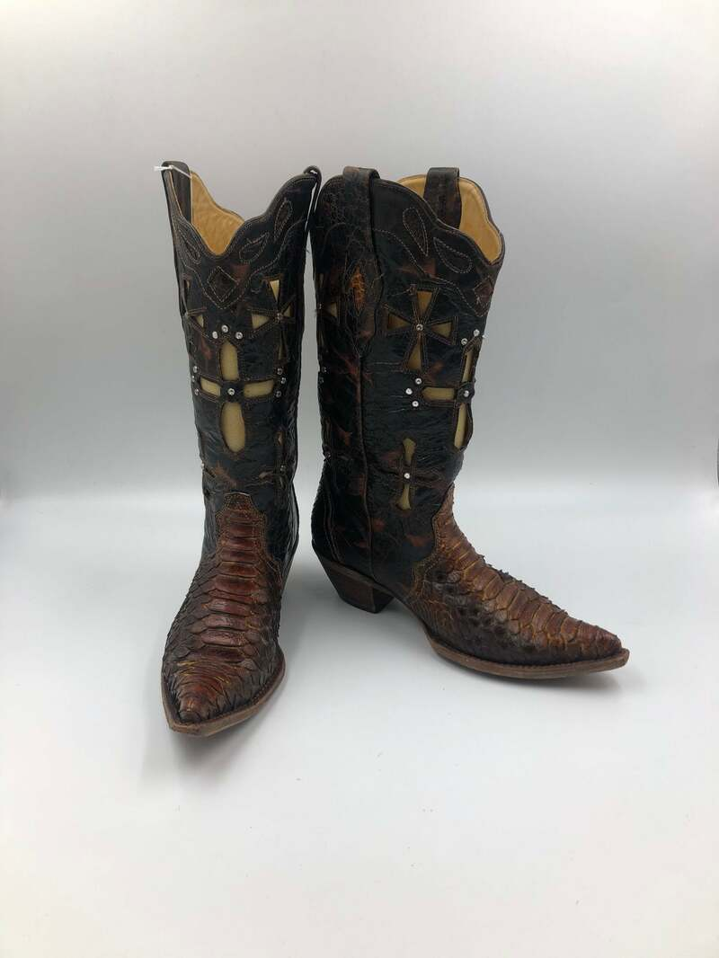 Buy Dark snake brown women's boots, real leather, vintage, embroidered, western style cowboy boots, dark brown color, size 9 1/2.
