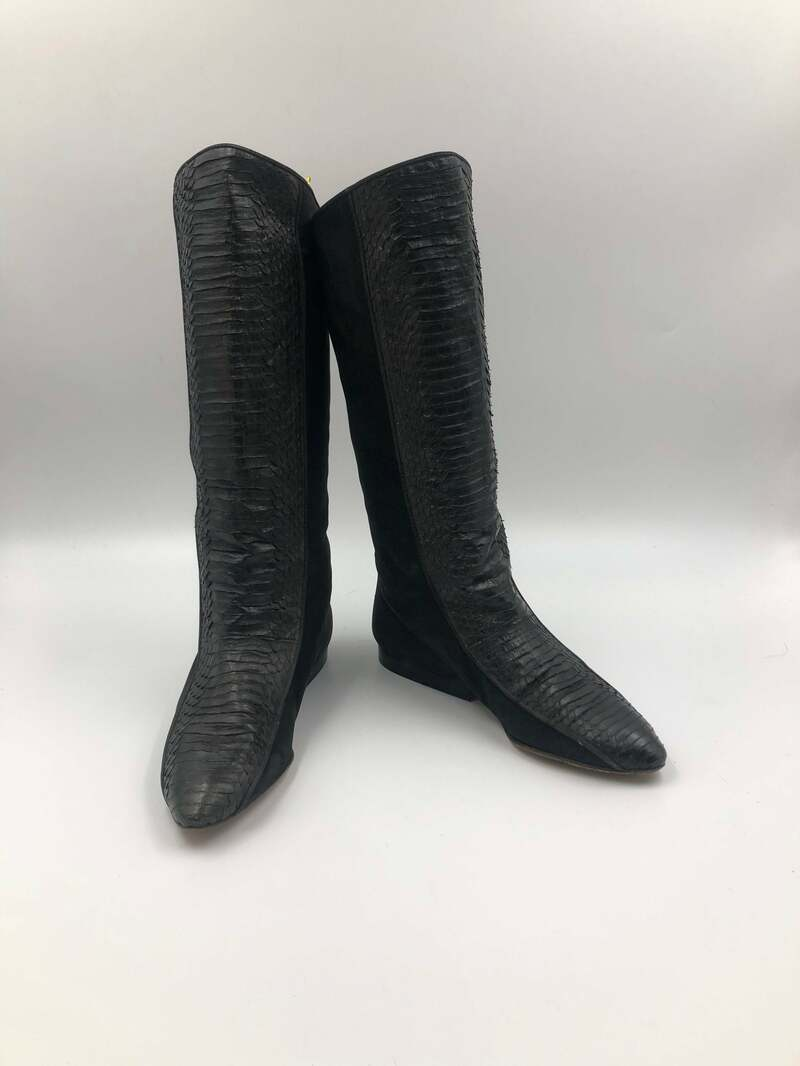 Buy Black boots, women's boots, real leather&suede boots, vintage boots, stocking boots, street style, boots for ladies, black color size 7 1/2.