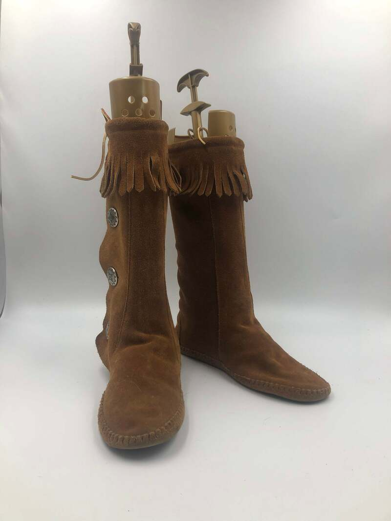 Buy Orange boots unisex boots real suede soft suede vintage boots old boots decorated with fringe original boots orange color has size 10.