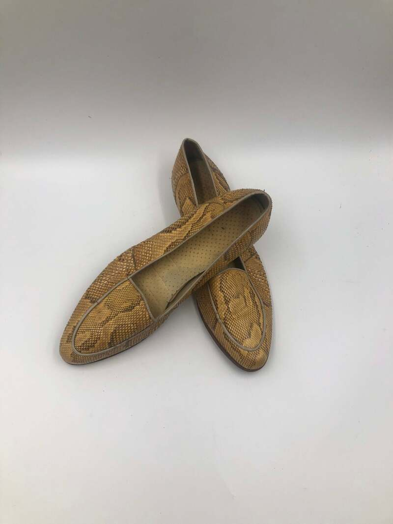 Buy Beige unisex shoes from real snake leather vintage shoes loafers streetstyle shoes old casual shoes fashion shoes beige color has size 12.