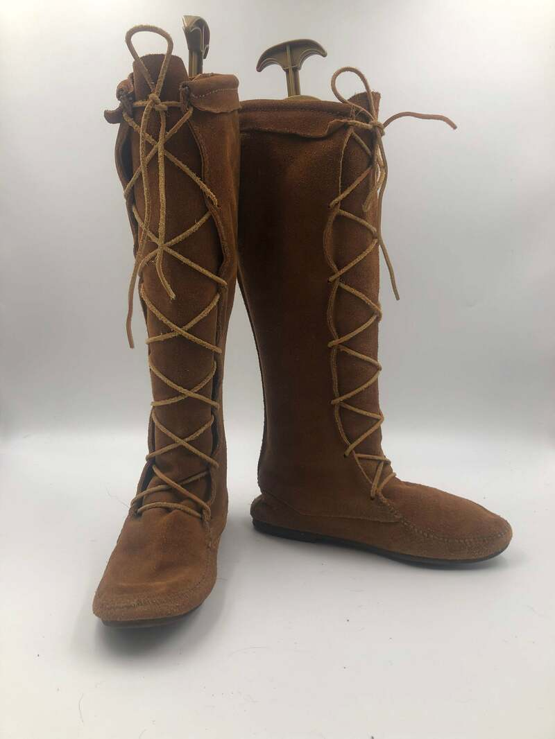 Buy Orange boots women's boots real suede vintage style decorated with laces old boots retro boots street boots orange color has size 9-9 1/2.