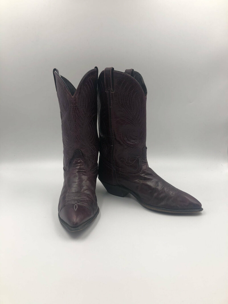 Buy Dark maroon boots, women's boots, real leather, vintage, embroidered, with unique print, western style, cowboy boots, maroon color, size 10.