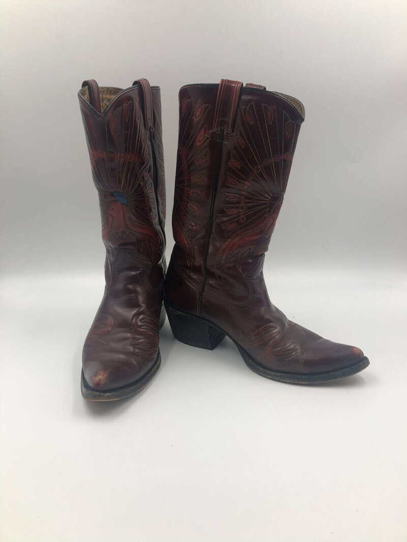 Buy Red boots, women's boots, real leather, vintage, embroidered, with unique picture, western style, cowboy boots, dark red color, size 8 1/2.
