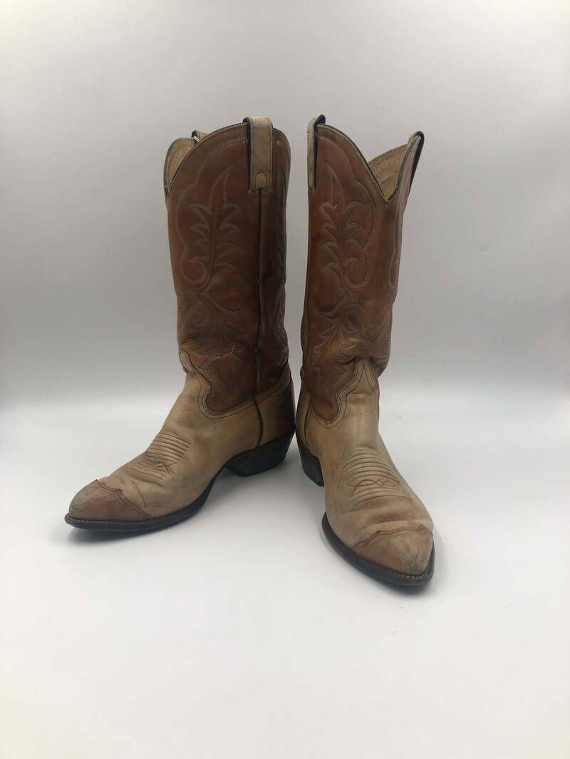 Buy Beige boots, men's boots, real leather, vintage, embroidered, with unique pattern, western style, cowboy boots, beige color, size 9-9 1/2.