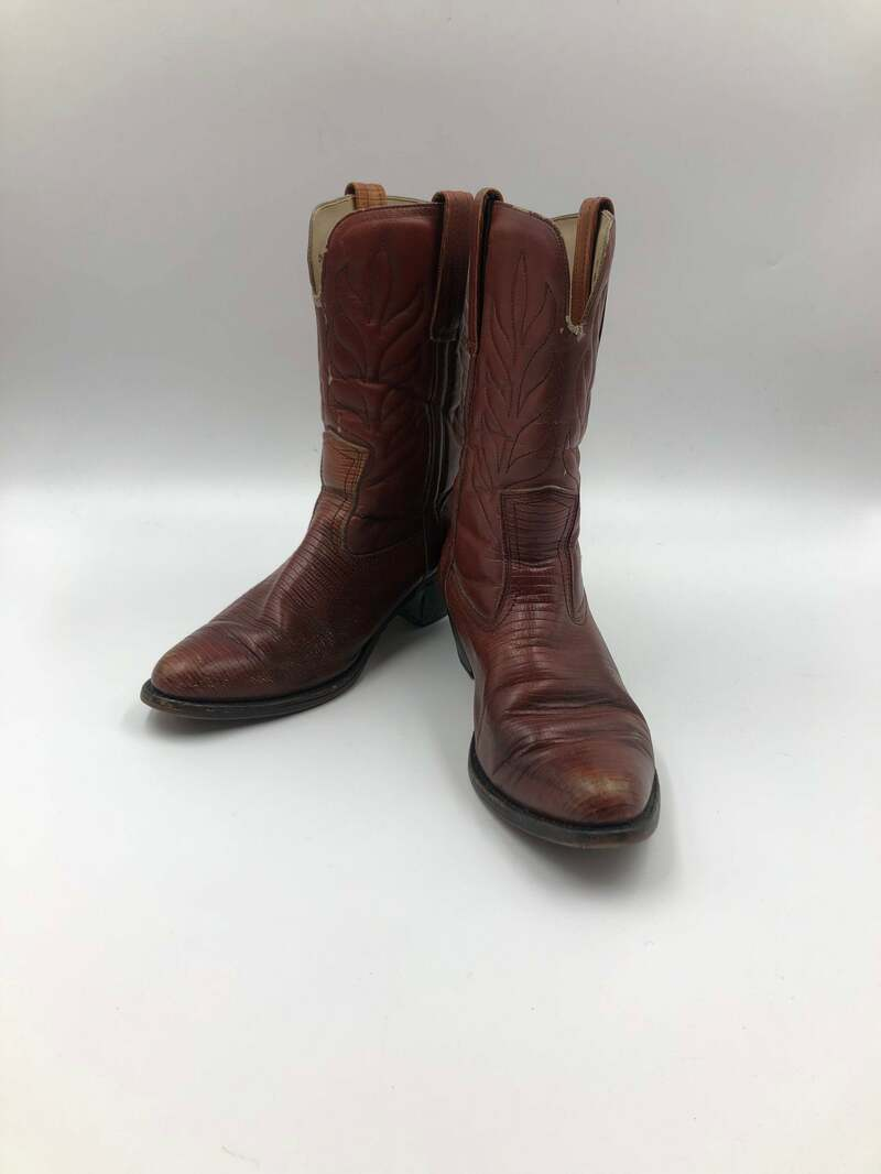 Buy Brown boots, women's boots, real leather, vintage, embroidered, with unique print, western style, cowboy boots, brown color, size 8 1/2 - 9.