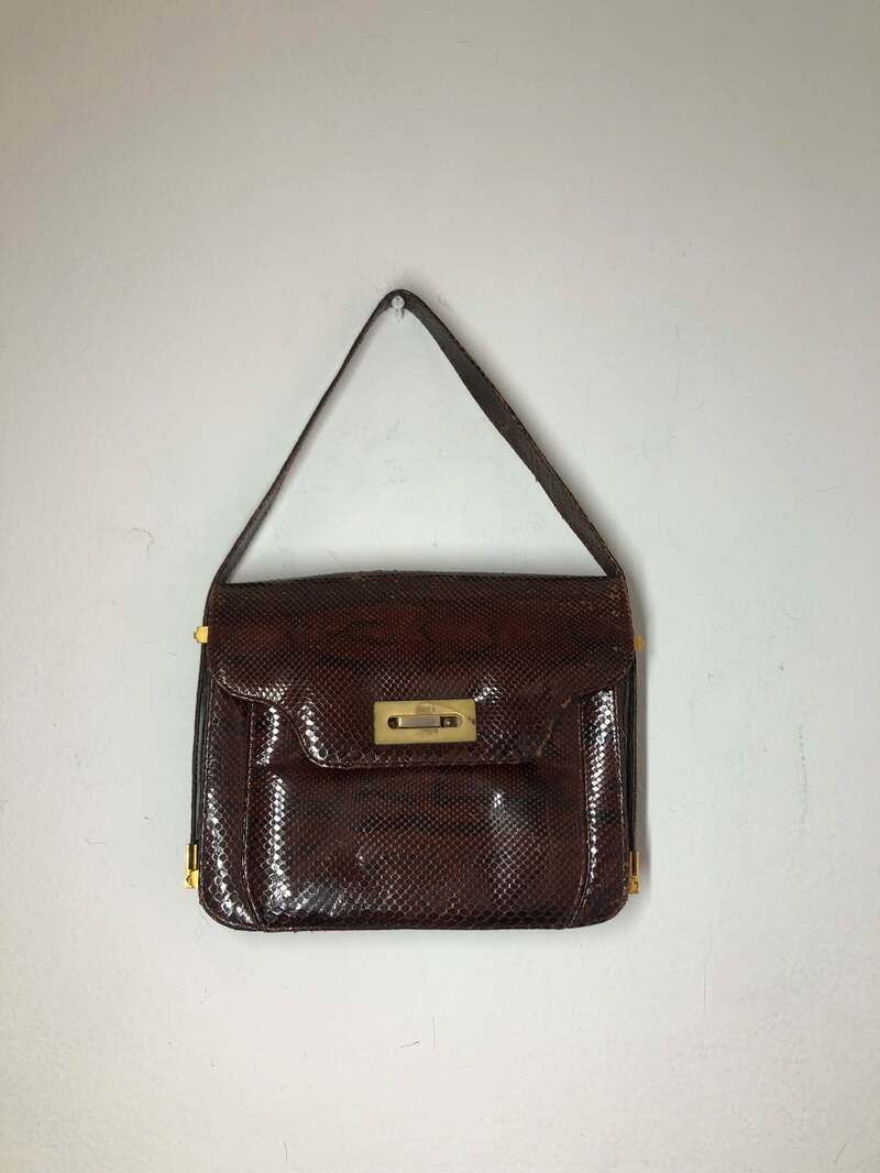 Buy Brown real leather handbag snakeskin bag with metal clasp vintage style.