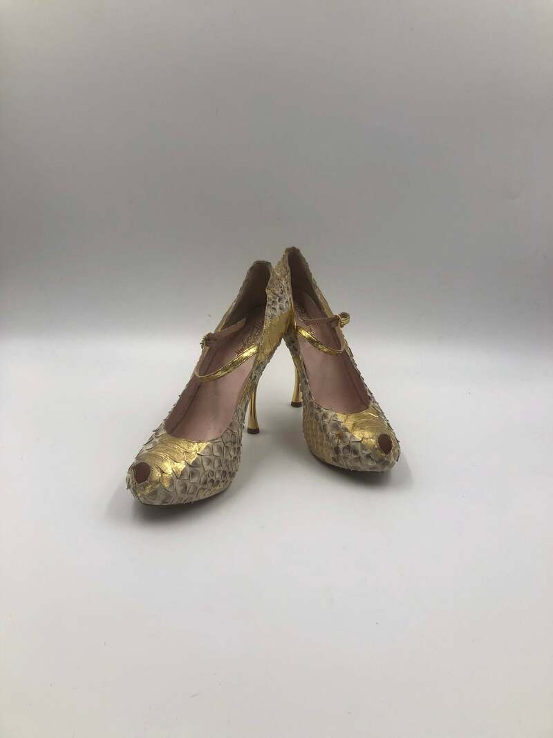 Buy Beige women's shoes from real python leather vintage shoes high-heel shoes streetstyle casual shoes original shoes golden shoes size 9-9 1/2