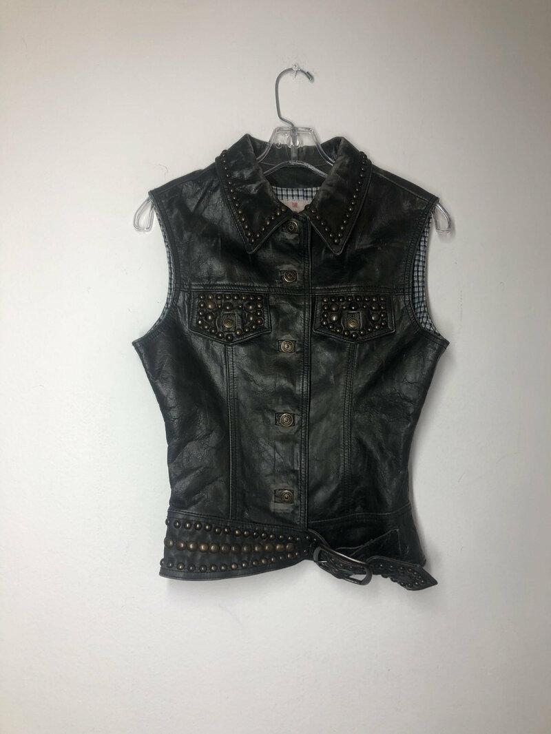 Buy Black women's vest real leather rocker vest streetstyle vest vintage steep vest motorcycle vest with rivets retro style size-extra small.