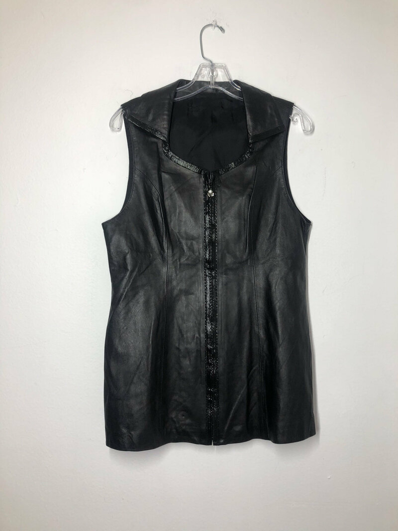 Buy Black women's amazing vest from real soft leather streetstyle vest mid length vest vintage rocker vest old vest, retro style has size-large.