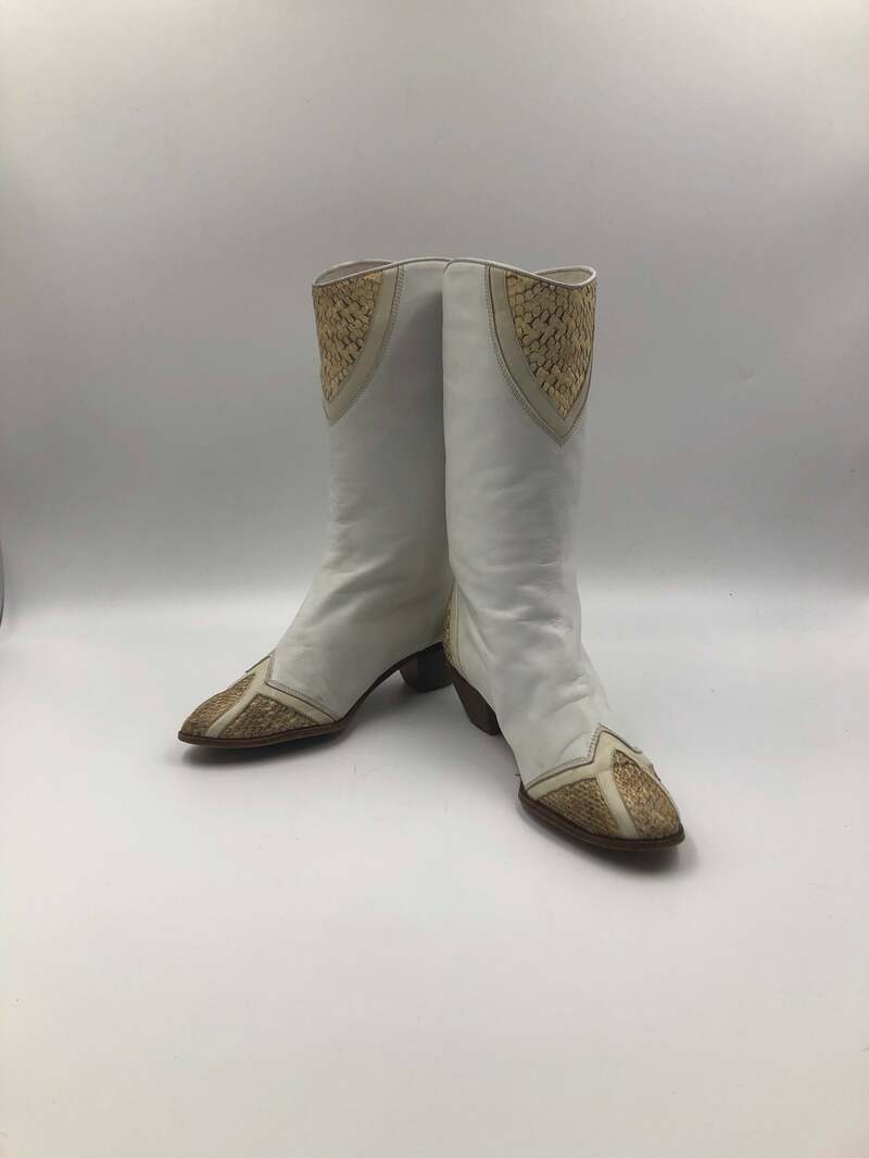 Buy White boots, women's boots, real snake leather, vintage, embroidered, with unique print, western style, cowboy boots, white color, size 9.