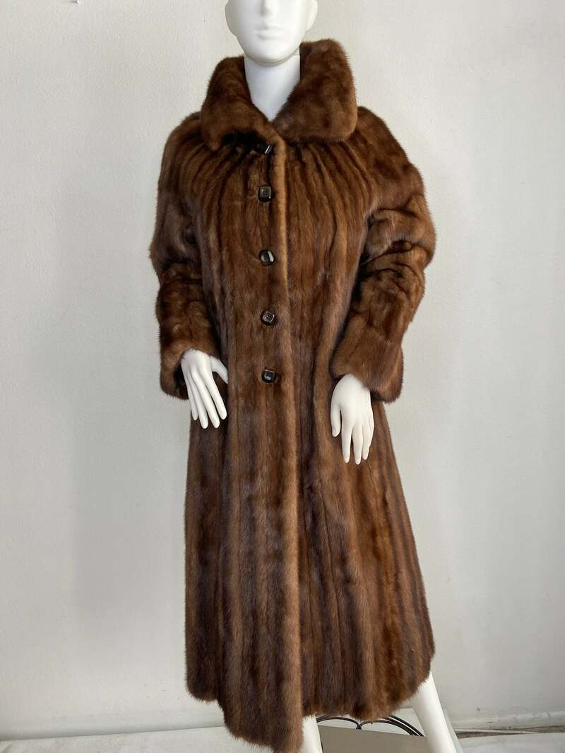 Buy Brown women's coat from real mink fur casual coat classical coat warm coat long coat vintage coat luxury coat has size-medium.
