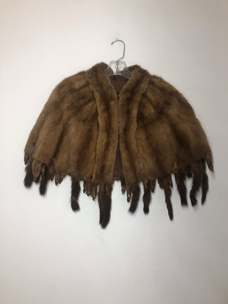 Buy Brown Women's Bolero real fur festive look with fur tails and paws vintage bolero theatre bolero retro style for party has size - small.