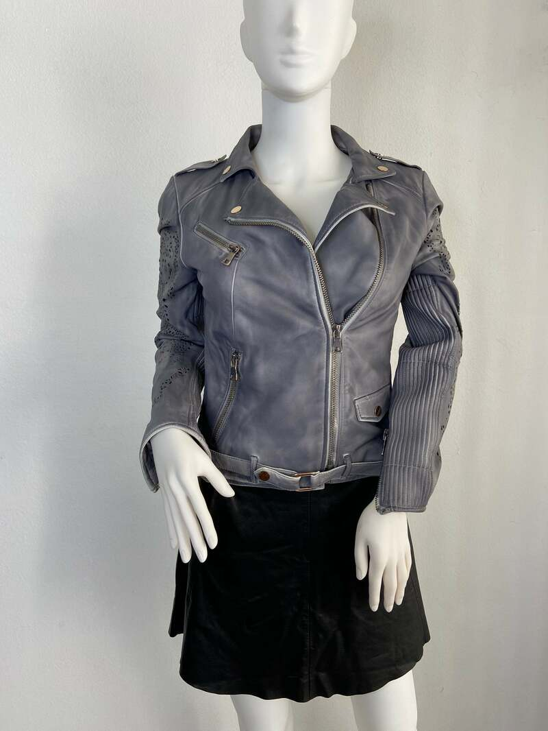 Buy Gray women's jacket made from real leather with rivets casual jacket motorcycle vintage rocker style old jacket retro style has size-medium.
