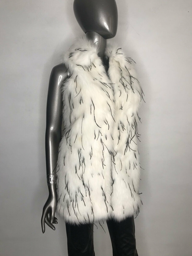 Buy Faux Fur Vest Womens White original fluffy beautiful vest in the youth style free design with big cozy collar womens size medium.