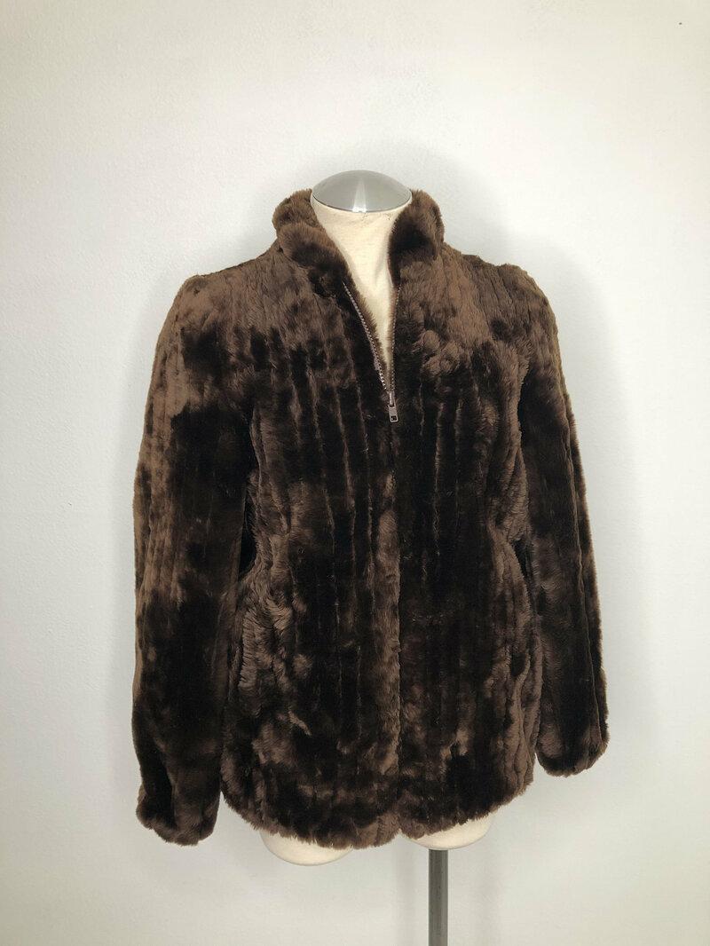 Buy Dark brown womens coat from real sheepskin fur casual coat sporty coat warm modern coat vintage coat steep streetstyle coat size-small.