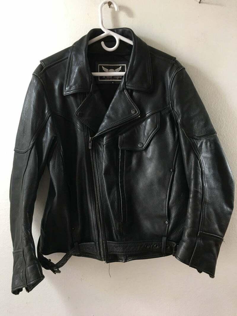 Buy Reserve Fabulous Short Vintage Black Genuine Leather Motorcycle Jacket Men's Size Medium .