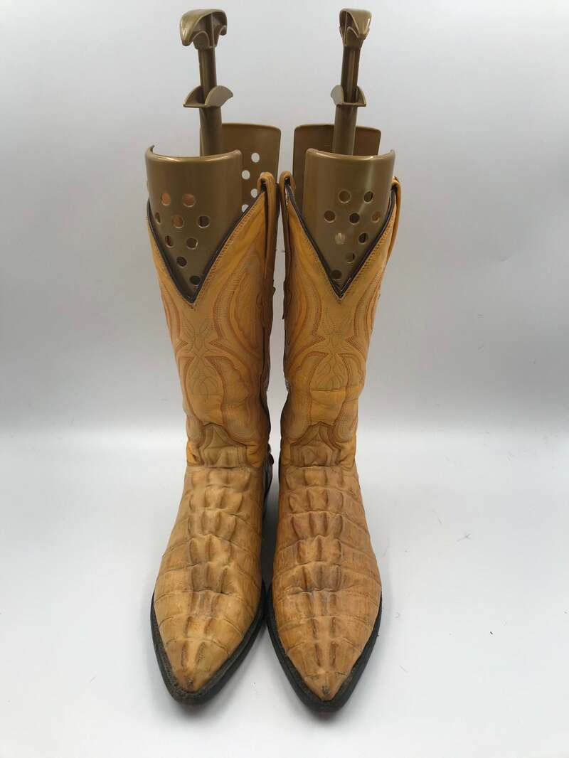 Buy Yellow men's boots from real leather vintage boots embroidered with unique crocodile print western style cowboy boots has size 10 1/2.