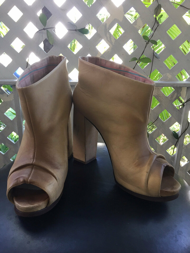 Buy Beige short women's shoes, from real leather, Ankle boots, shoes with open toe, high heel shoes, handmade, vintage style, women's size-39.