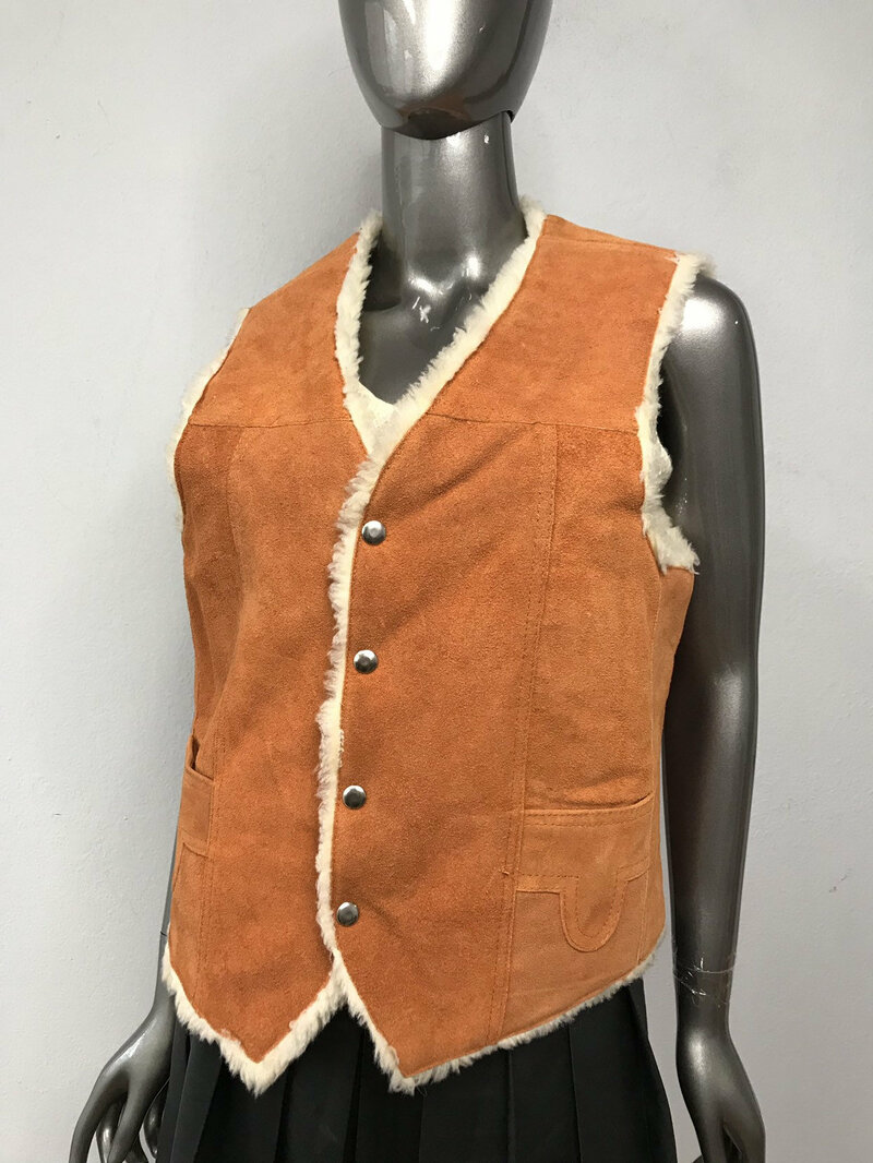 Buy Orange Suede White Faux Fur Classic men's vest with pockets men's size is small.