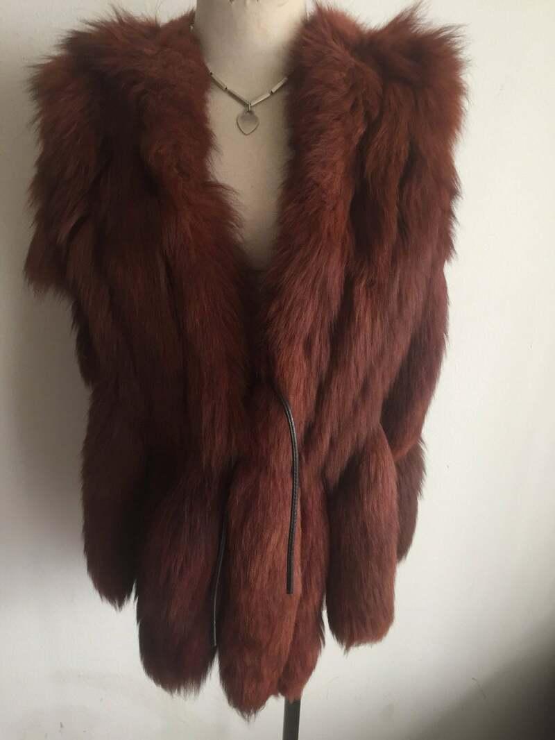 Buy Elegant Vintage Brown Genuine Polar Fox Fur Vest Warm And Fluffy Womens Size Universal.