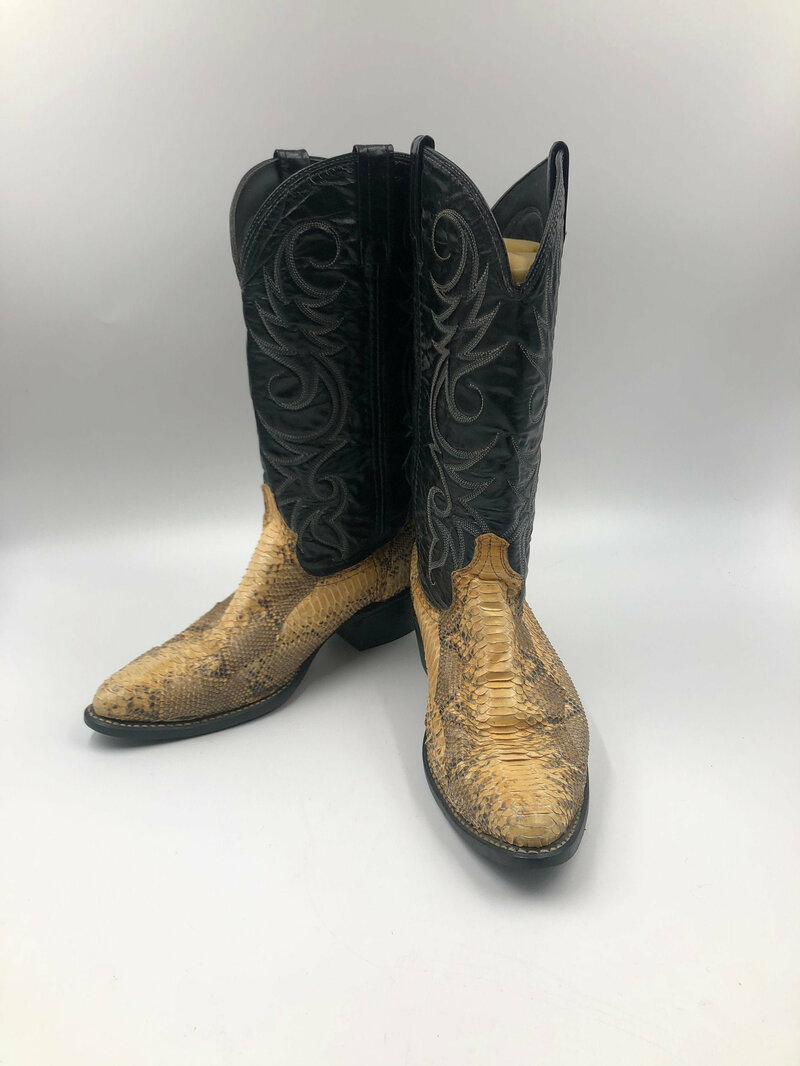 Buy Beige men's boots from real snake leather vintage embroidered with unique pattern western style cowboy boots streetstyle retro has size 9.