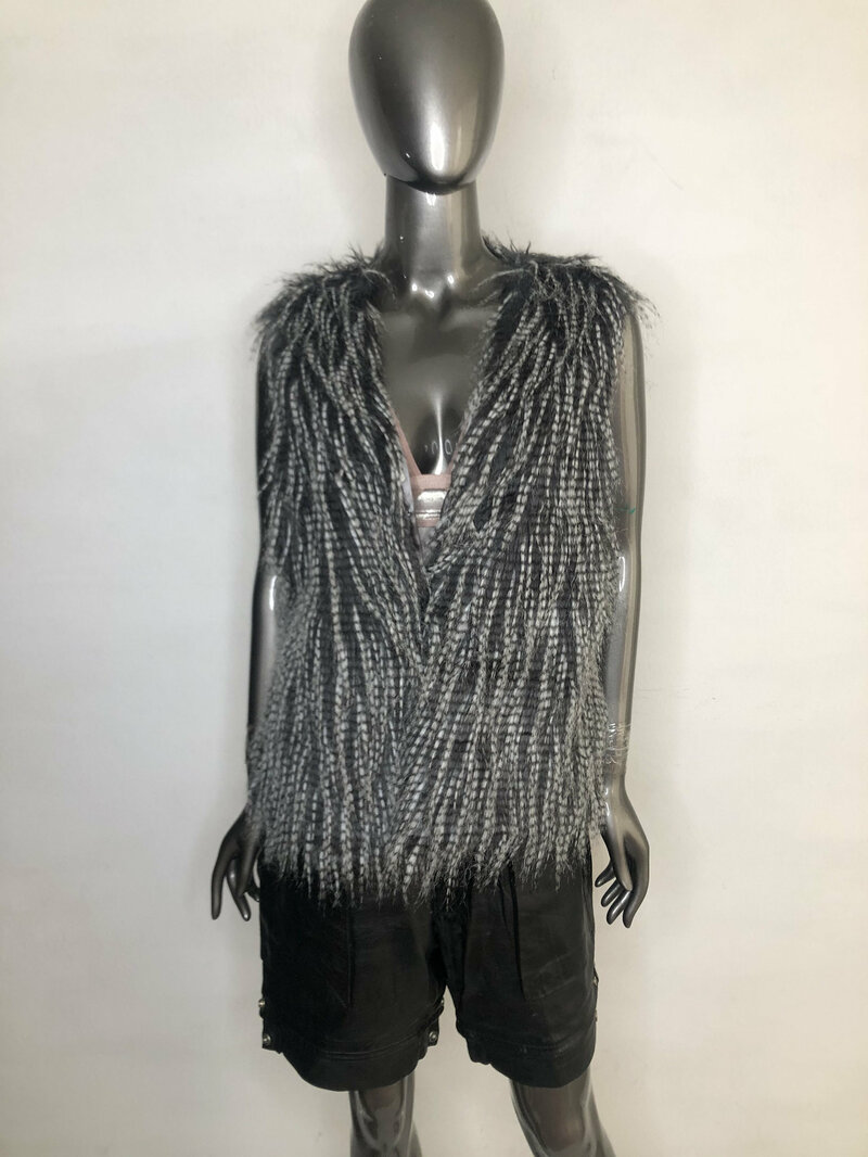 Buy Faux Fur Vest Womens Gray Black original fluffy beautiful vest in the youth style free form fastened on hooks womens size medium.