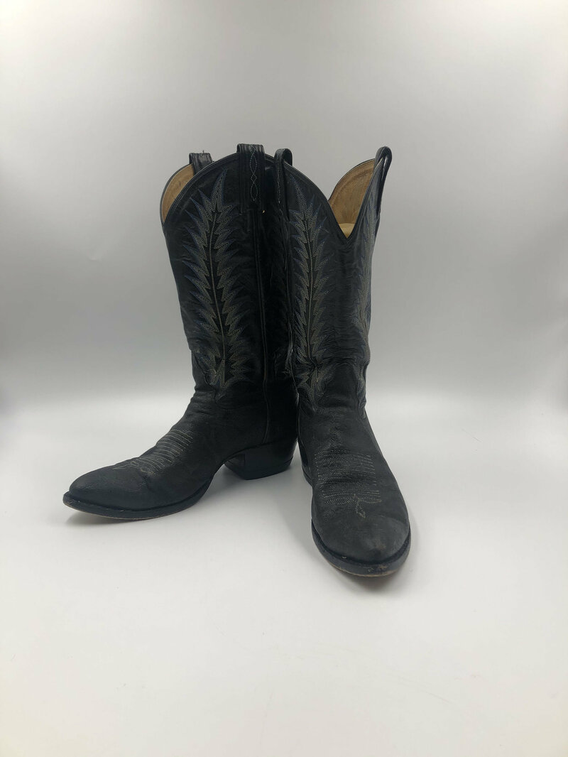 Buy Black real leather cowboy boots with embroidery man size 8 1/2 D.