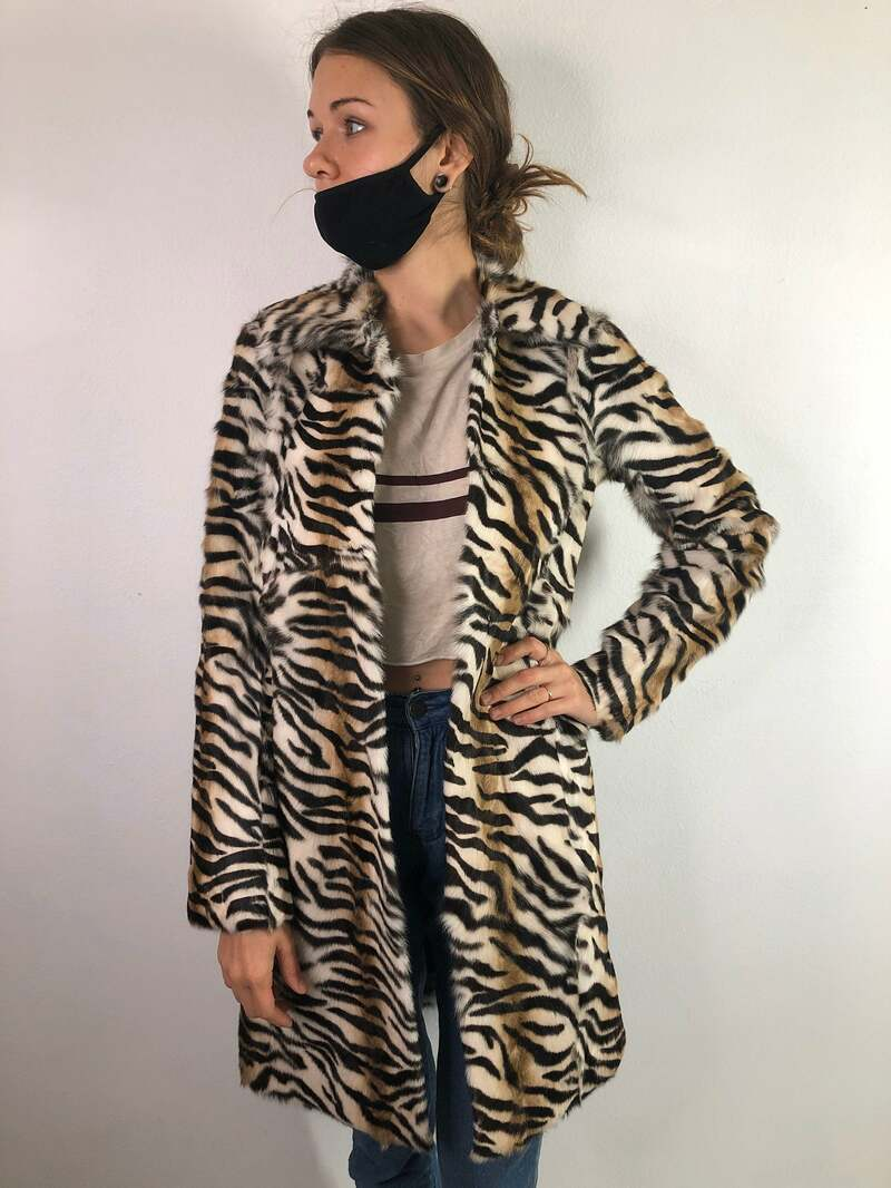 Buy Leopard print Women's Coat real goat fur casual coat classical coat warm coat midi coat fluffy coat vintage coat winter coat has size-small.